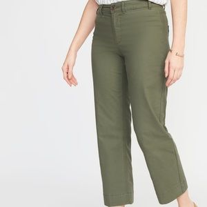 Mid Rise Green Slim Wide Leg Chinos Pants